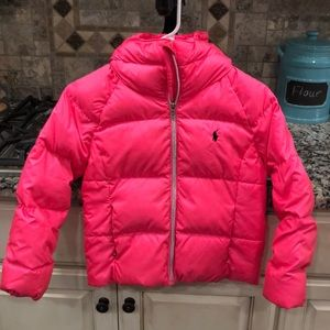 Polo hot pink puffer coat.